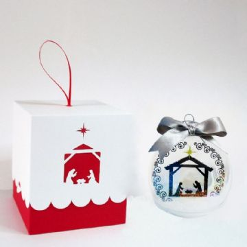 80mm Nativity Scene Bauble Box & Bauble Insert